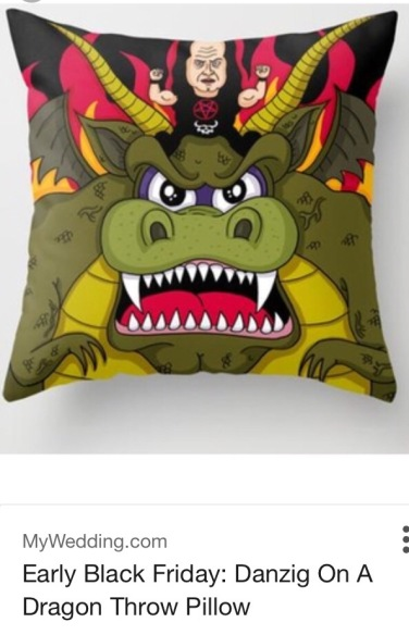 Danzig Riding a Dragon Throw Pillow
